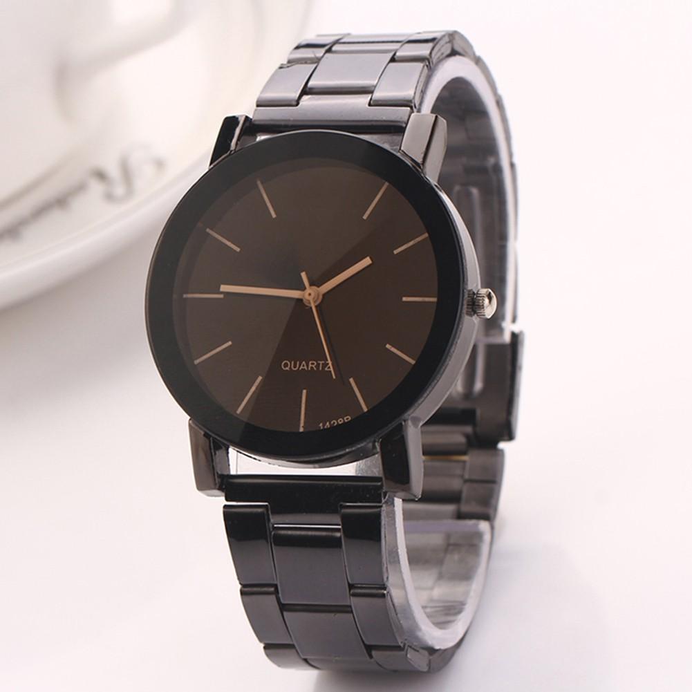 Black simple dial personality couple steel belt pair watch