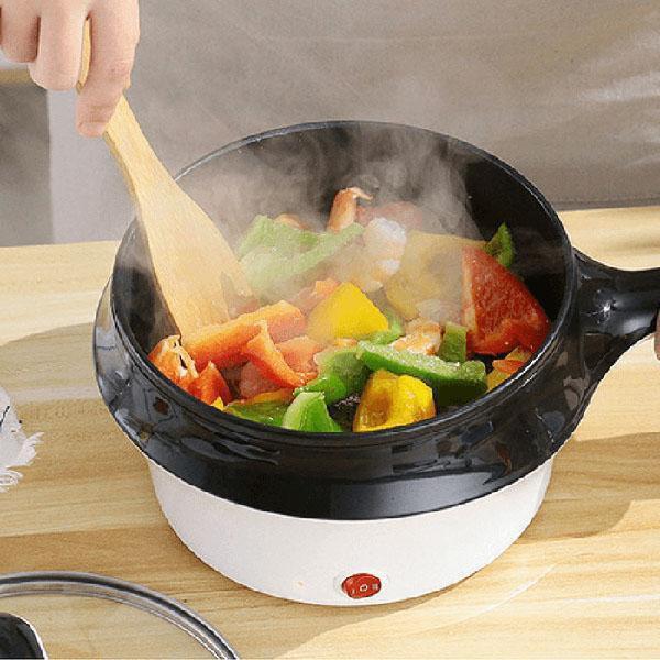 HÀNG XỊN Nồi Điện Mini Hai Tầng Đa Năng Tặng Kèm Khay Hấp có thể Chiên, Xào, Nấu ăn, nấu cơm, nấu lẩu mini