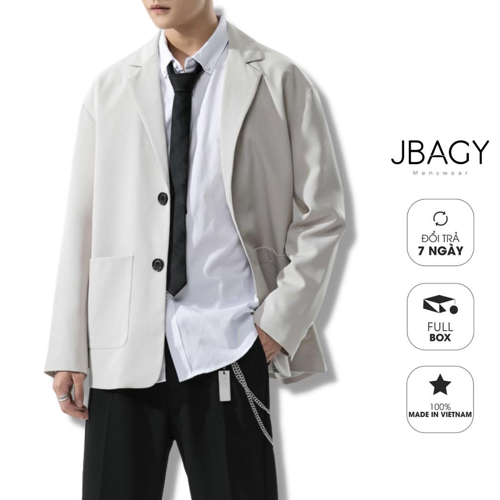 Áo khoác Blazer nam dáng suông 2 khuy cài, túi ngang mở 3 màu sắc trung tính thương hiệu JBAGY - B01