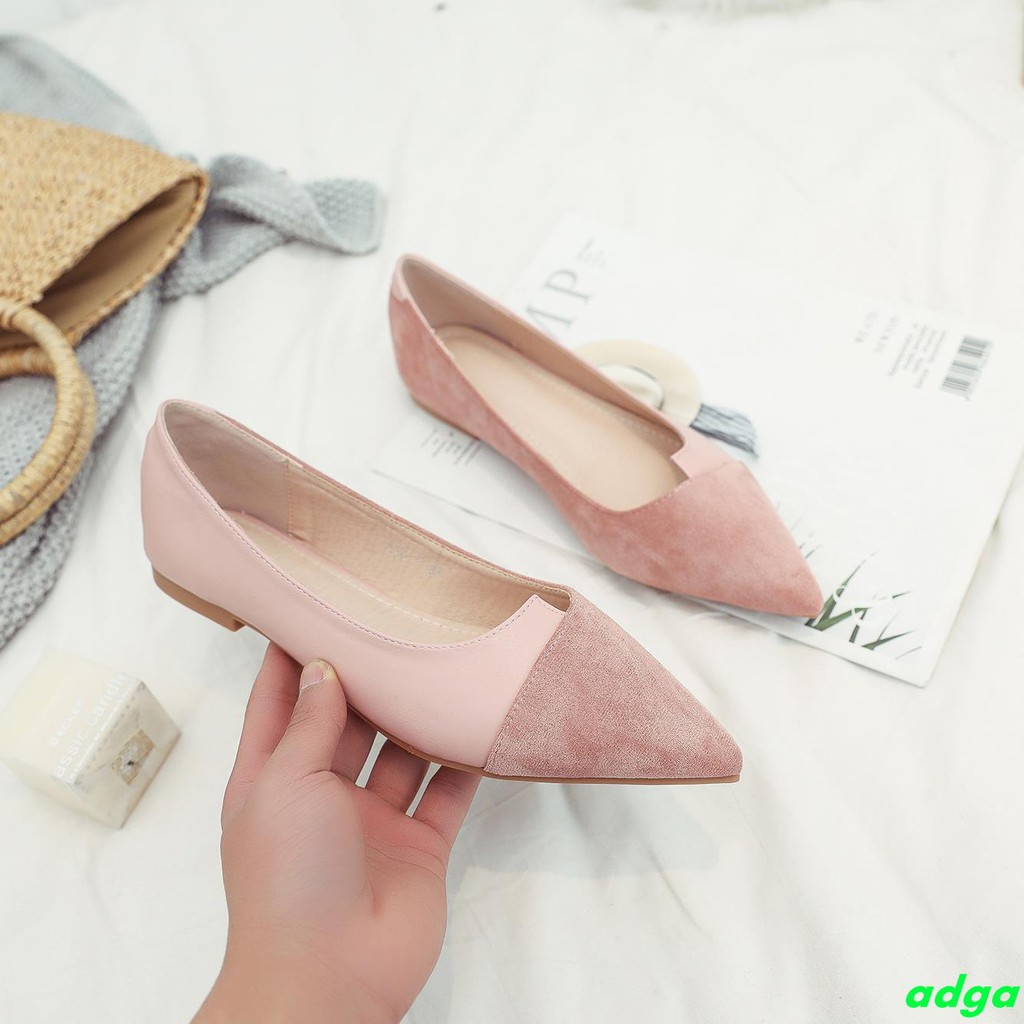 2019 spring new European and American fashion OL wild hit color small pointed comfortable flat shoes suede shallow mouth