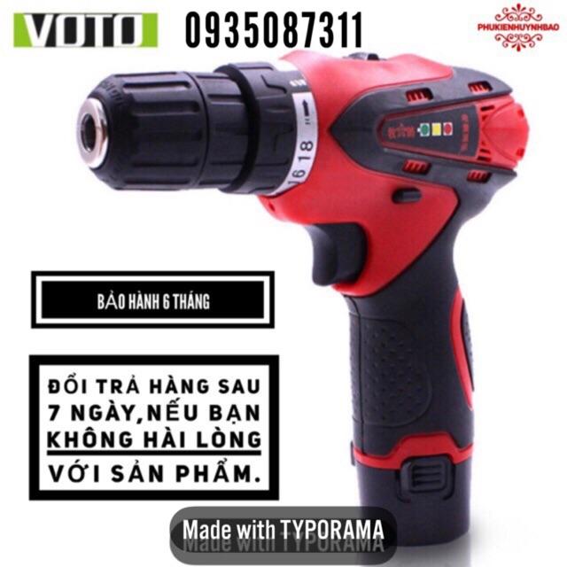 Máy Khoan Pin 12V VOTO,1 Pin,2 Tốc,Có Đèn Hiển Thị Dung Lượng Pin,Tặng Hộp Đựng Máy Khoan 12V.