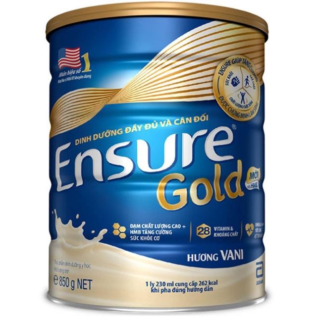 Sữa bột Ensure Gold HMB 850g mẫu mới hương Vani date 09/2021