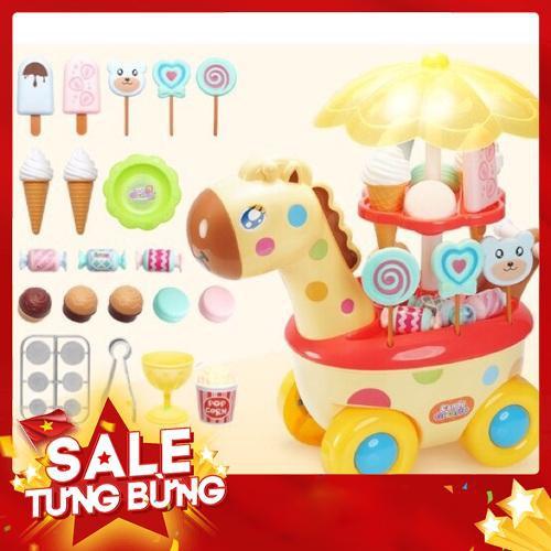 Xe đẩy kem kẹo phát nhạc- Đồ chơi nhập vai bán kem cho bé - Bộ đồ chơi xe đẩy bán keo kẹo có nhạc đèn cho bé Đồ Chơi Nhập Vai