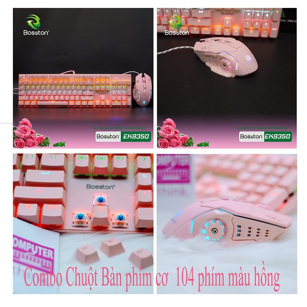 Combo Bàn phím cơ + chuột màu hồng cực đáng yêu, giá combo siêu rẻ - Tặng kèm lót chuột 5mm