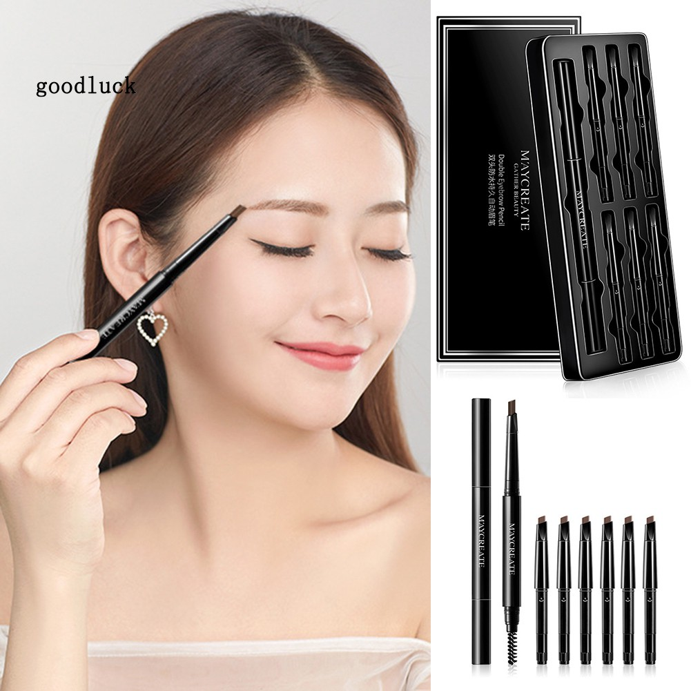 GLK_7Pcs Double Head Eyebrow Pencil Waterproof Long Lasting Non Smudge Cosmetics