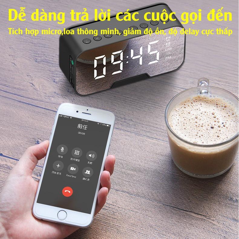 Đồng Hồ Loa G10 Mặt Gương Hiển Thị Đèn Led - Loa Bluetooth - Đài FM - Đồng Hồ Báo Thức 3 in 1