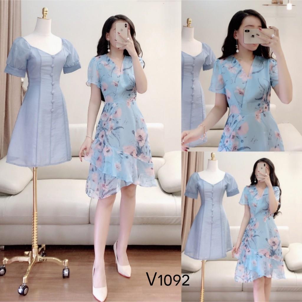 LOẠI 1 Váy hoa xanh hàng thiết kế V1092 -SẦU RIÊNG FASHION