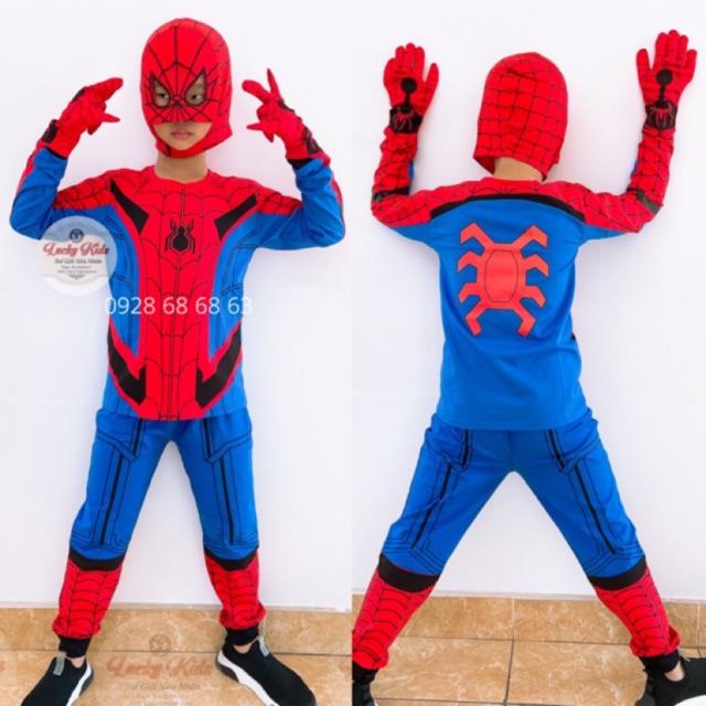 ⚜FULL SET Y HÌNH  ⚜Bộ quần áo siêu nhân người nhện tay dài kèm mặt nạ bao tay bé trai-Đồ siêu nhân chuẩn loại 1