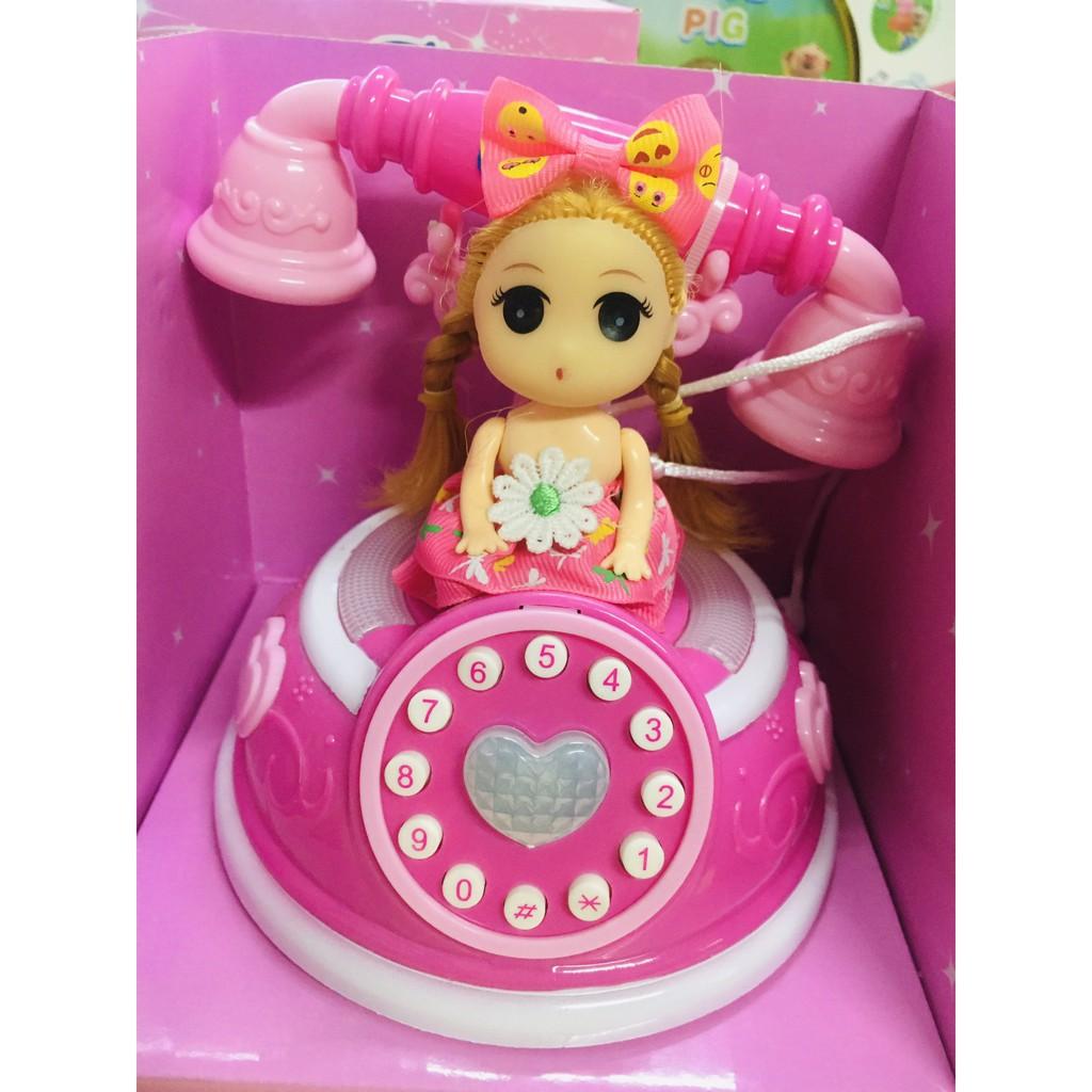 (KÈM QUÀ TẶNG)Đồ chơi điện thoại bàn kiểu dáng cổ cho bé kèm búp bê siêu dễ thương có nhạc,...