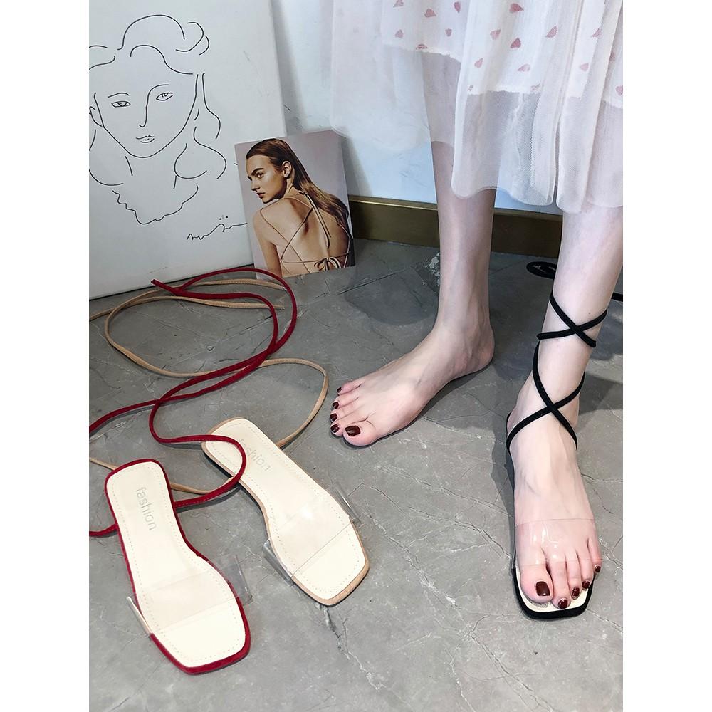 【จัดส่งฟรี】ดูร้อนปี 2019 รองเท้าผู้หญิงใหม่ป่าคำโปร่งใสกับรองเท้าแบนนางฟ้าอ่อนโยน