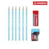 Bộ 6 cây chì gỗ STABILO Schwan pastel kèm gôm, chuốt PC421U-C6S+ (xanh)