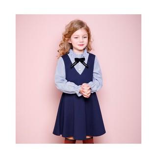 Đầm thun da cá phối vải tay dài Jelispoon cho bé gái 5-10T D1135