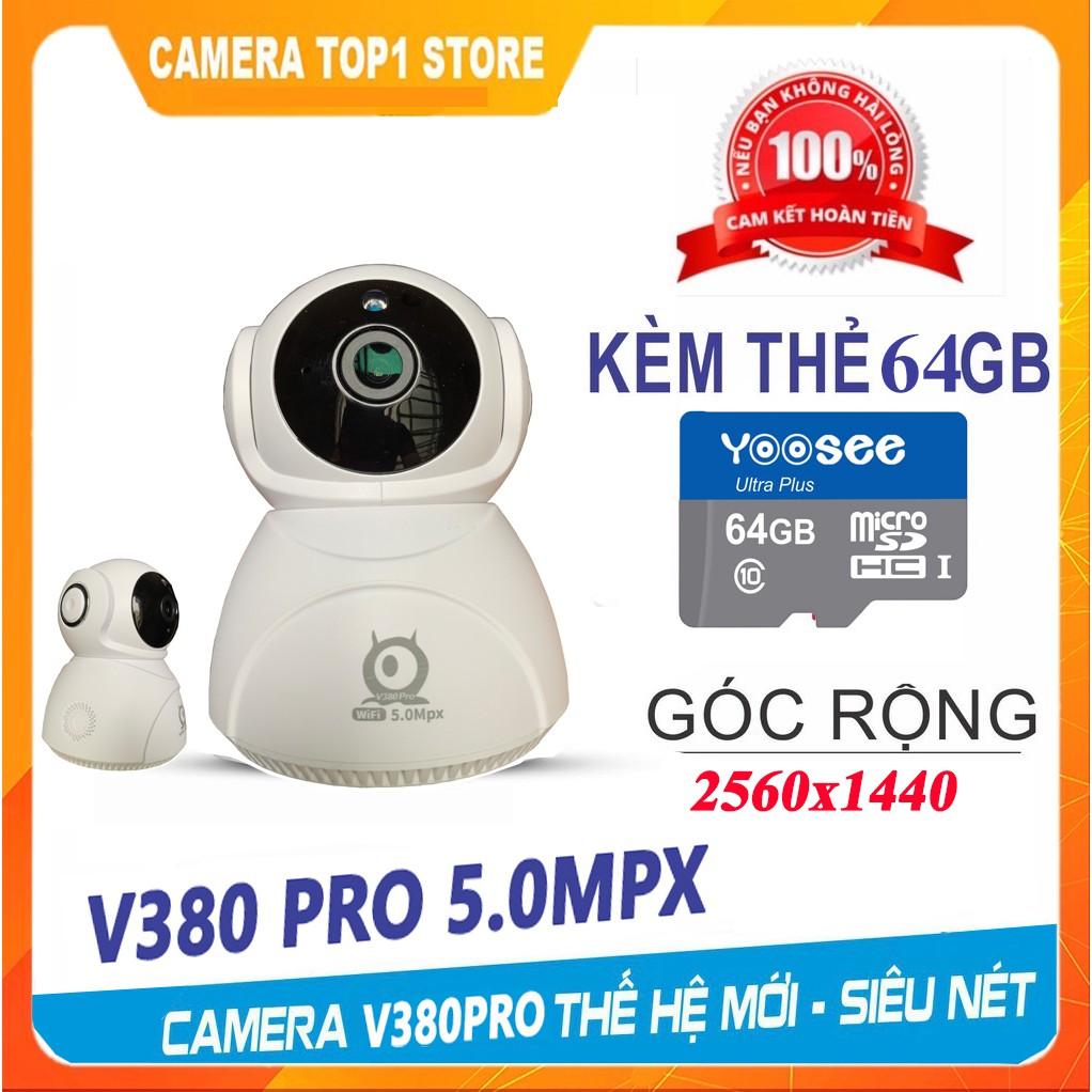 Camera Ip Wifi 5.0 Mpx V380 PRO Q8HD 360° FULLHD 1440P Siêu Nét - Chính Hãng KÈM THẺ 64GB