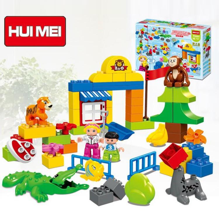Bộ Xếp Hình Lego Duplo HUIMEI HM079 Dành Cho Bé 3 Tuổi – Lắp Ráp Bé Đi Thăm Sở Thú 63 Chi Tiết