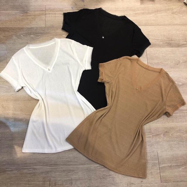 Áo phông cổ tim 3 màu dành cho nữ