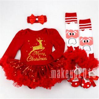 Mu♫-Toddler Infant Baby Girls Long Sleeve Cotton Romper Tops +Leg Sleeve +Headband+Shoes 4PCS Outfits Set Christmas