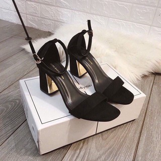 Dép nữ, dép sandal nữ quai ngang bít gót đế trụ loe 7 phân má tráng kim loại cực sang chảnh
