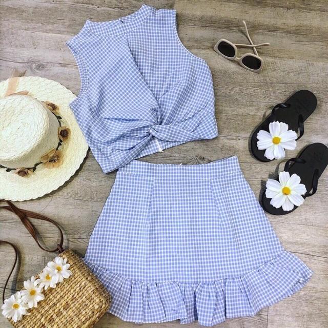 Set váy áo caro