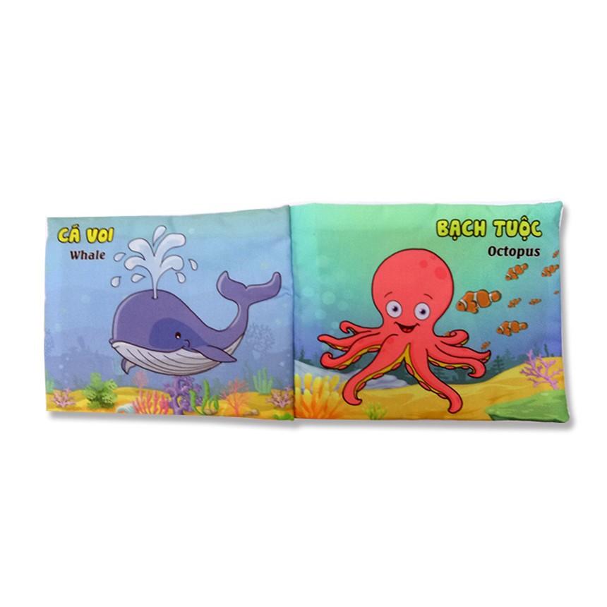 2 sách vải cho bé chơi mà học Pipo sinh vật biển động vật ăn thịt