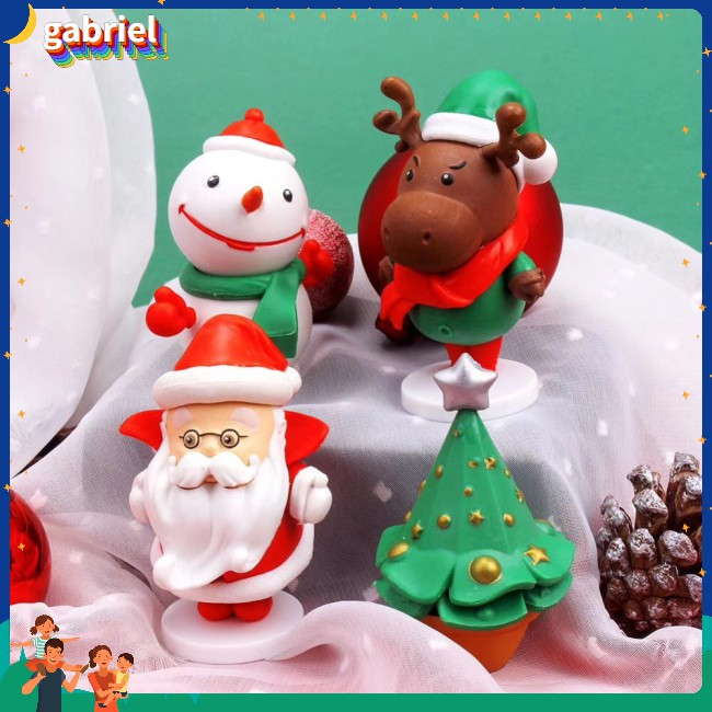 Cute Cartoon Festival Christmas Doll Pvc Pcs/set 4