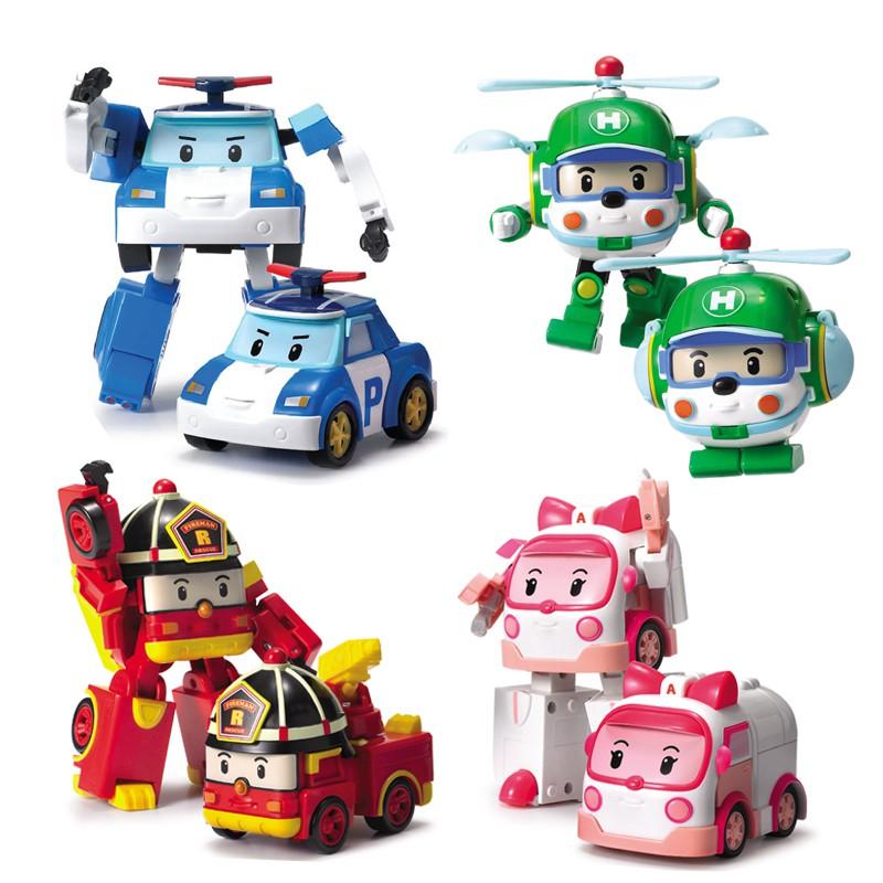 Poli car đồ chơi lắp ráp thú cưng biến đổi thành phương tiện giao thông robot