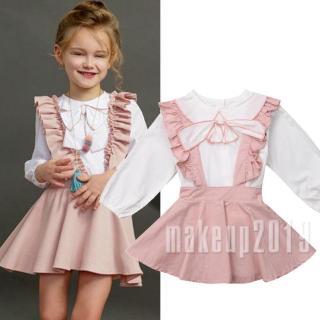 Mu♫-New Toddler Kids Baby Girl Ruffle Tops Shirt Suspender Skirt Dress Outfit Clothes