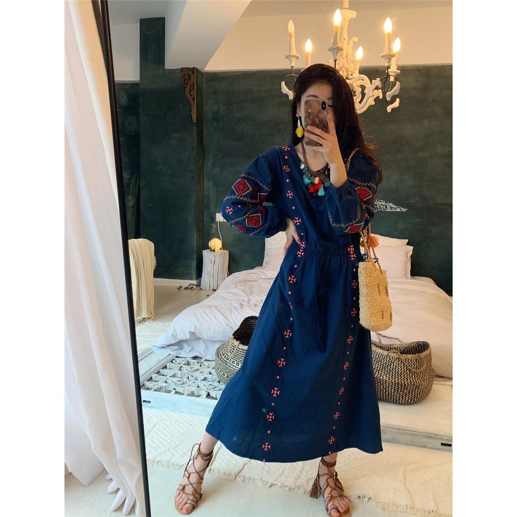 Váy boho xanh navy thêu họa tiết thổ cẩm - MS186 (Có ảnh thật)