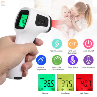 ET Non-contact Infrared Thermometer Forehead Temperature Measurement Voice Broadcast LCD Three Colors Backlight Digital Display ℃/℉ Accuracy ±0.2℃ Handheld Thermometric Indicator