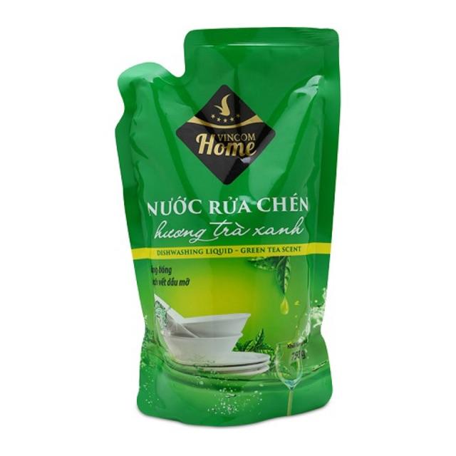 Nước rưa chén trà xanh khử mùi diệt khuẩn Vinmart Home hàng cty Việt Nam 750gram/túi giá rẻ