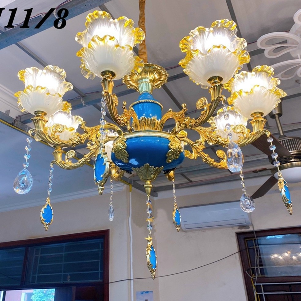 [ Tặng Kèm Bóng Đèn Led ] Đèn Chùm 8 Tay Pha Lê Cao Cấp - trang Trí Phòng Khách,Nhà Hàng Khách Sạn - Bảo Hành 2 Năm