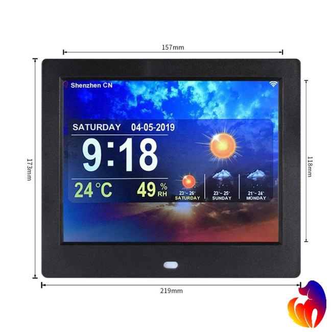 8 Inch WiFi Weather Forecast Clock Machine Digital Photo Frame Electronic Album Player