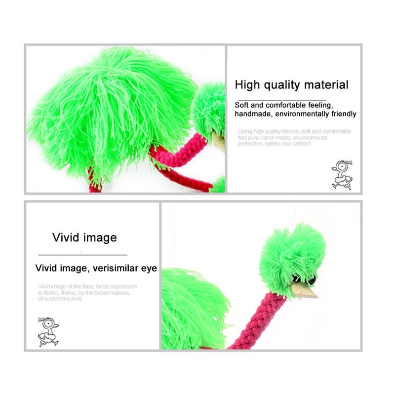 5Pcs Animal Wool Rope Ostrich Bird Hand Puppet Marionette Muppet Doll Toy