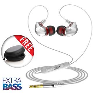 Tai nghe có dây cao cấp Extra Bass, siêu cách âm, tặng kèm hộp đựng + bộ nút dự phòng