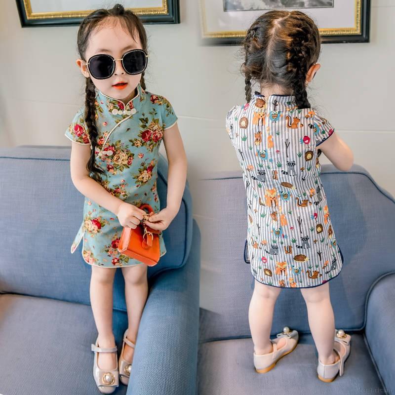Đầm cotton không tay thiết kế kiểu sườn xám thêu hình đẹp mắt cho bé gái 1-6 tuổi
