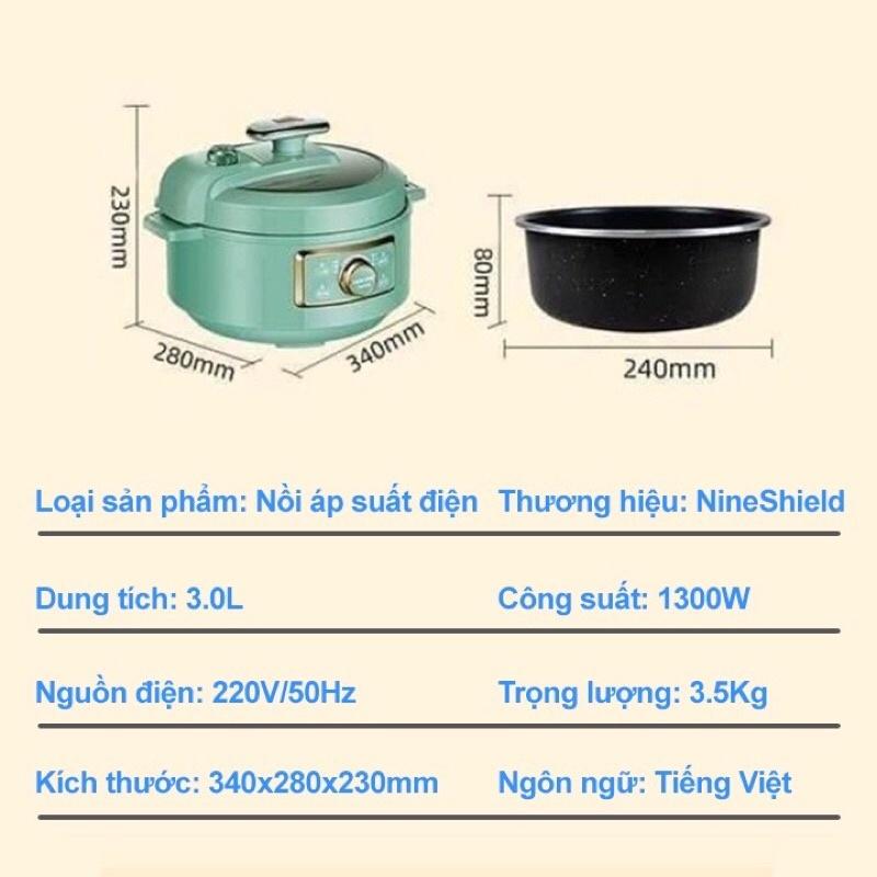❤️Nồi Áp Suất Điện Đa Năng NINESHIELD/AUX Nồi Hầm KB-618 Phiên Bản Tiếng Việt