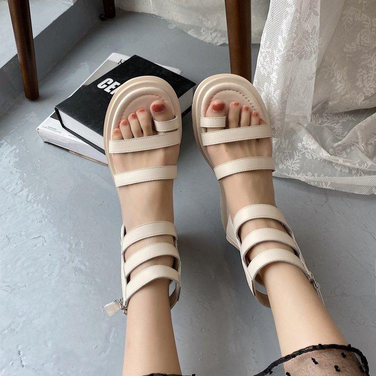 Sandal Nữ Đế Dày Hở Ngón Phối Dây Kéo Đôi Sành Điệu Thời Trang