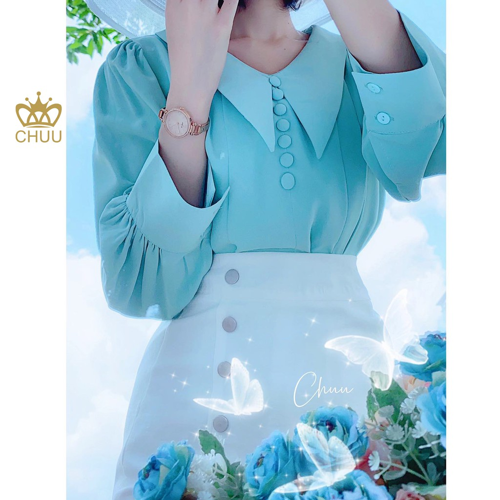 Mặc gì đẹp: Xinh tươi với Áo kiểu công sở nữ cổ nhọn đính nút bọc tay phồng CHUU A6933