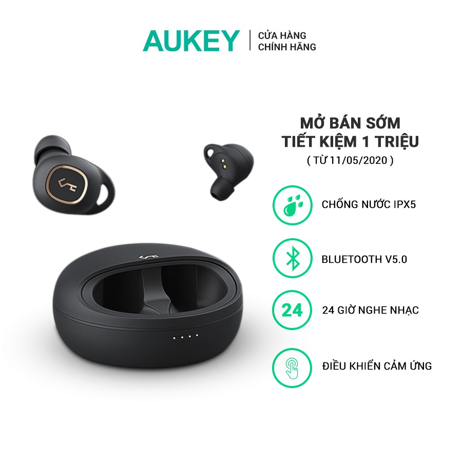 [Mở Bán Lại 16/05] Tai Nghe True Wireless AUKEY EP-T10, Bluetooth 5.0, Xoay 360 Độ, Chống Nước IPX5, Pin Lên Tới 24H