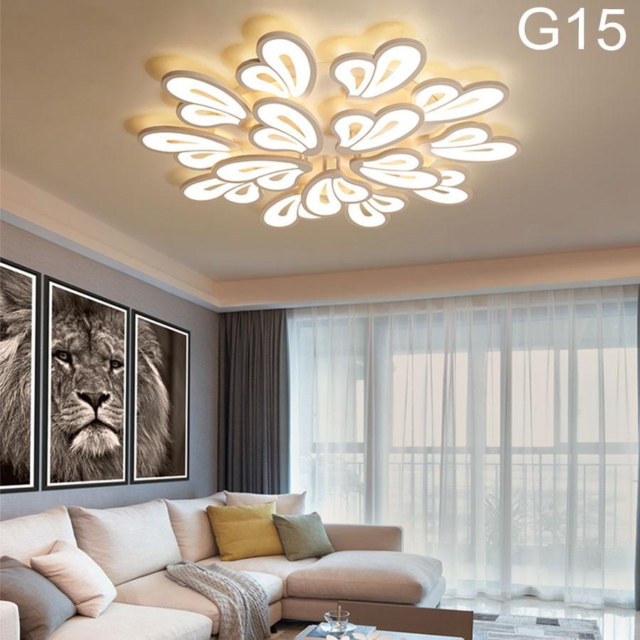 ĐÈN ỐP TRẦN trang trí, đèn LED phòng khách G15, 15 cánh 3 chế độ sáng kèm điều khiển từ xa