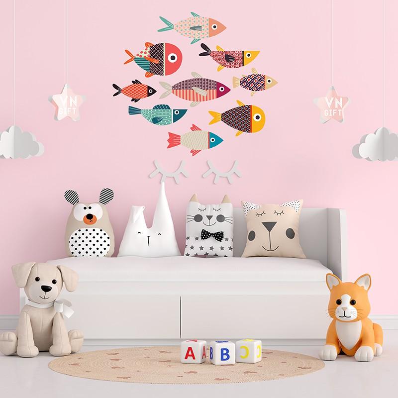 Bộ tranh gỗ  Cá decor dán tường cao cấp  trang trí phòng khách, phòng ngủ, tranh cá treo tường gắn sẵn băng dính nano 3M