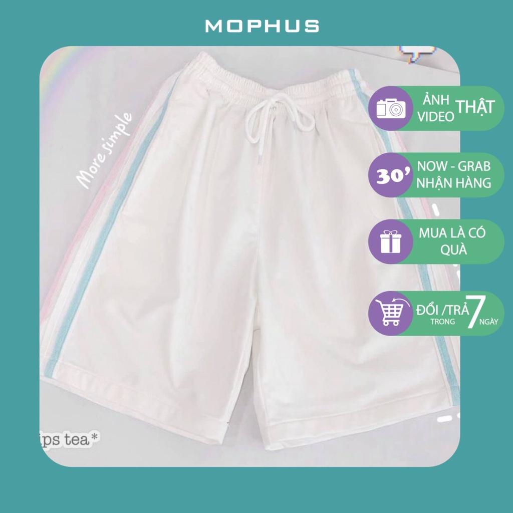 Quần short đùi 3 sọc rainbow Mophus shorts ống rộng cạp chun trơn màu đen, trắng, xanh