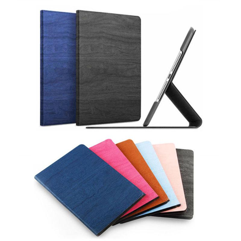 For iPad 5/6 air 2 Wooden Magnetic Leather Smart Flip Stand Case