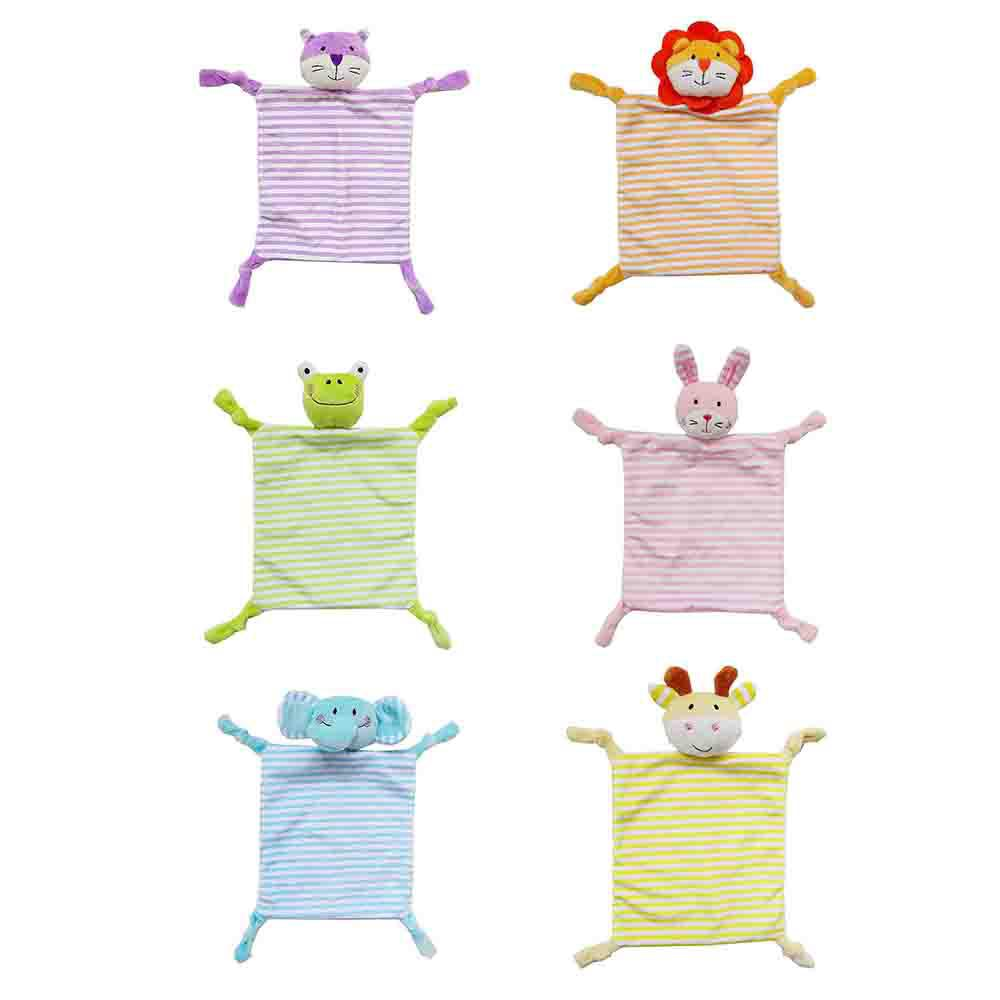 Newborn Baby Cotton Soft Sleep Appease Towel Blanket Bibs Cute Animal Plush Toy