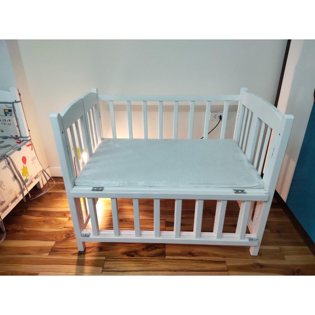 Bộ giường cũi + đệm cho bé, nôi cũi_đệm bông ép B02