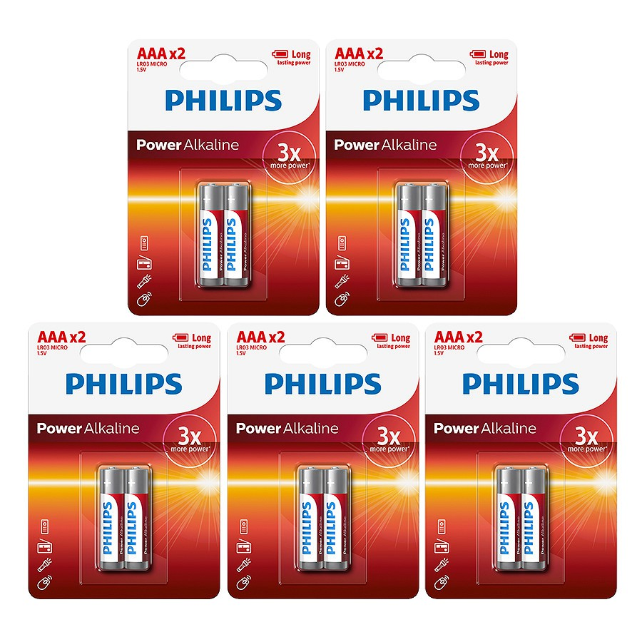 Combo 5 vỉ pin AAA Alkaline Philips LR03P2B ( 1 vỉ 2 viên pin)