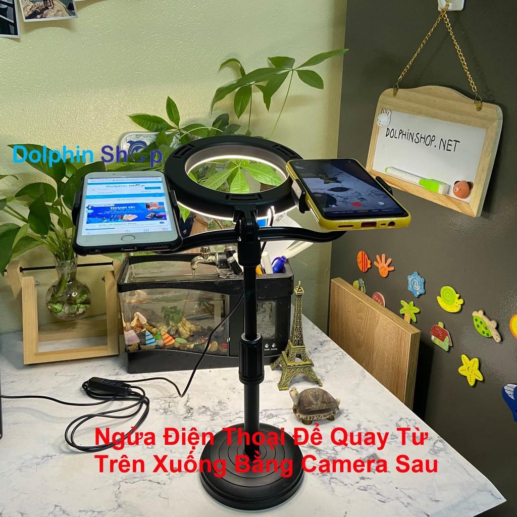 [Có Clip] Đèn Livestream Để Bàn Size 16cm Kèm Giá Đỡ 2 Điện Thoại Cùng Lúc