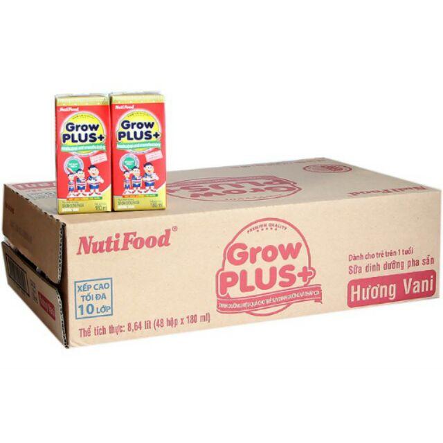 Sữa bột pha sẵn Nutifood Grow Plus+ Đỏ hộp 180ml (thùng 48 hộp)