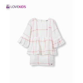 Váy kẻ hồng tay xòe Lovekids LK0151