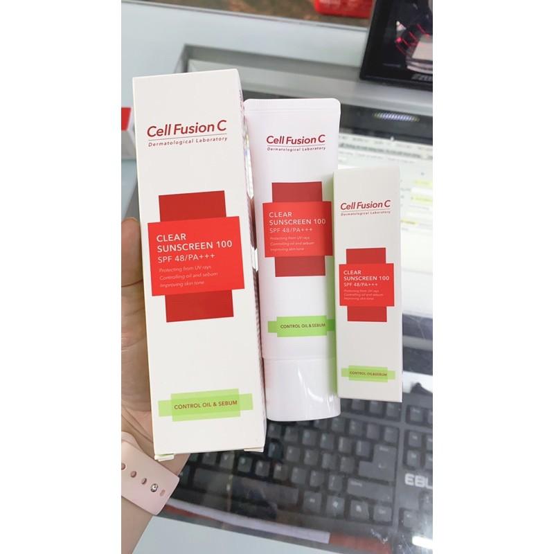 Kem chống nắng Cell Fusion C clear sunscreen 100 spf48 nhập khẩu