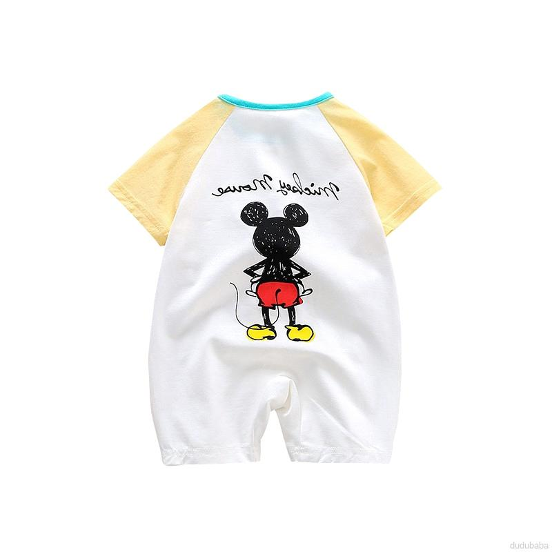 Áo Liền Quần Ngắn Tay Hình Chuột Mickey Cho Bé